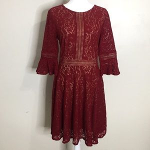 Red Lace Dress with Nude Lining and Bell Sleeves